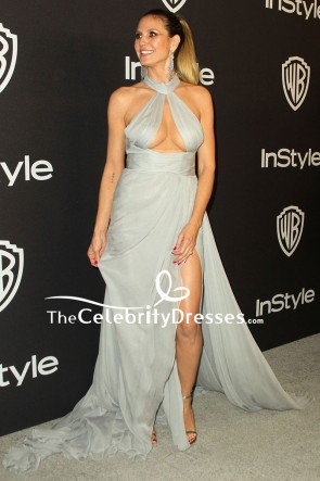 Heidi Klum Gray Cut Out Thigh-high Slit Evening Dress InStyle and Warner Bros Golden Globes 2019 After Party
