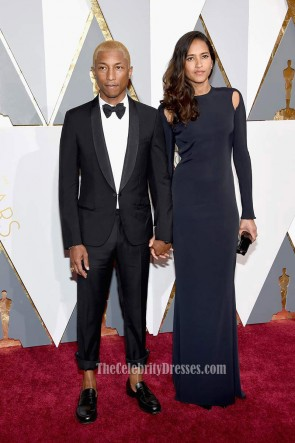 Helen Lasichanh 2016 Oscars Black Long Sleeves Formal Dress Red Carpet Evening Prom Gown 1