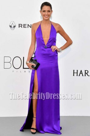 Helena Bordon Viloet Halter V-neck Backless Evening Prom Gown AMFAR Gala Cannes 2017