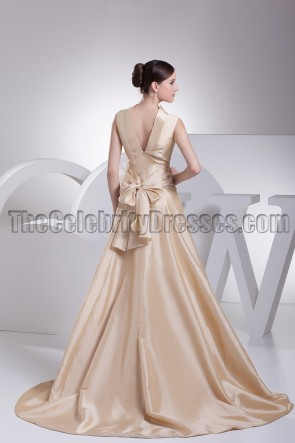 High Neck Champagne A-Line Formal Dress Prom Evening Gown