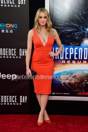 Hunter King Orange Knee Length Deep V-Neck Party Cocktail Dresses 2