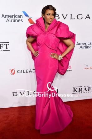 Iman Fuchsia Mermaid Evening Dress 2018 Elton John AIDS Foundation Red Carpet