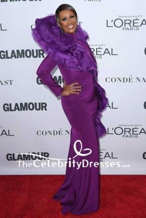 Iman robe de bal de soirée sirène mauve avec manches longues 2017 tapis rouge de femmes de l'année de Glamour