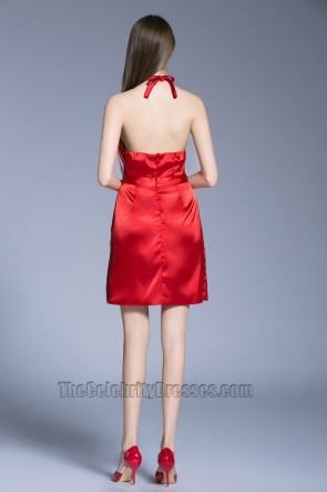 New Short Mini Red Dress Halter Backless Party Cocktail Dresses TCDBF5019
