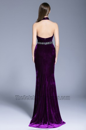 Women Fashion Purple Halter Ball Gown Party Red Carpet Evening Dress TCDBF5026