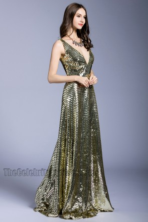 Fashion Elegant  Long Prom Dress Sequins Party V-neck Evening Dress TCDBF5033