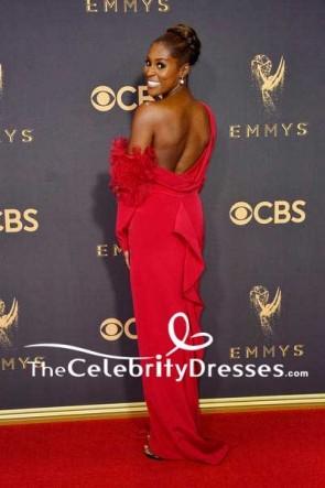 Issa Rae - Robe de soirée dos nu à une épaule et longue colonne rouge 69e Primetime Emmy Awards