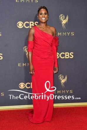 Issa Rae Red One-shoulder Long Column Backless Evening Dress 69th Annual Primetime Emmy Awards