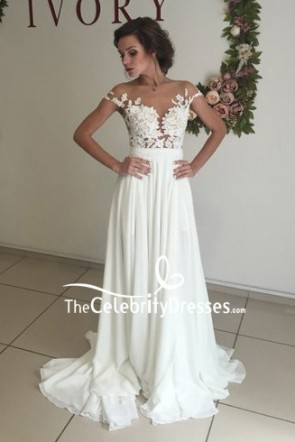 Ivory Off-the-shoulder A-line Prom Dress With Applique