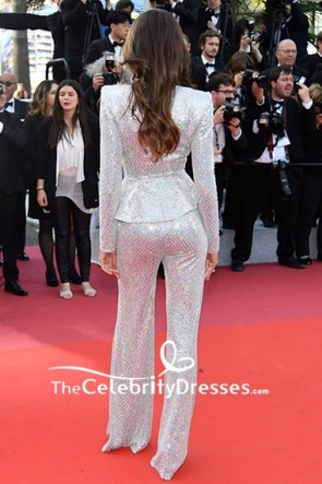 Izabel Goulart Silver Sequins Low V-neck Suit 2019 Cannes Film Festival TCD8533