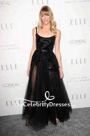 Jaime King Black Sheer Tulle Beaded Evening Dress lle's Women in Hollywood Celebration
