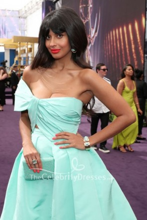 Jameela Jamil Mint Off-the-Shoulder Dress 2019 Emmys Awards  TCD8645