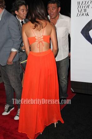 Jamie Chung Sexy Backless Orange Prom Evening Dresses