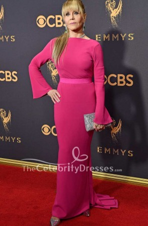 Jane Fonda Fuchsia Evening Prom Dress With Sleeves 2017 Emmys Red Carpet