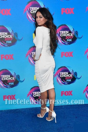 Janel Parrish - Robe de cocktail moulante à découpes et à manches longues avec manches longues 2017 Teen Choice Awards