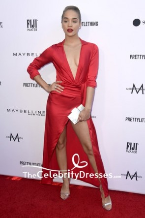 Jasmine Sanders Red Deep V-neck Thigh-high Slit Cocktail Dress 2019 Fashion Los Angeles Awards