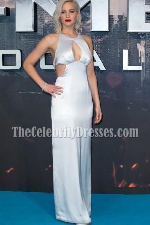 Jennifer Lawrence Silver Robe de Soirée Dos Nu X-Men Apocalypse Premiere 2016