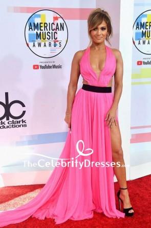 Jennifer Lopez Hot Pink V-neck Thigh-high Slit Evening Dress 2018 American Music Awards