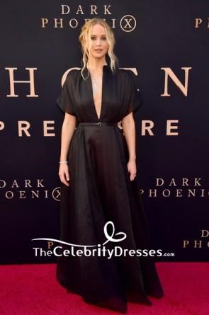 Jennifer Lawrence Black Chiffon Deep V-neck Evening Dress 2019 Premiere of 'Dark Phoenix'
