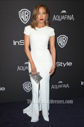 Jennifer Lopez 2016 Golden Globes Awards After Party White Evening Prom Gown 1