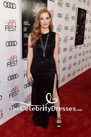 Jessica Chastain Black Sequins Thigh-high Slit Evening Dress 2017 AFI FEST Closing Night Gala
