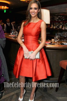 Jessica Alba Cocktail Party Dress V-Day Cocktails and Conversation