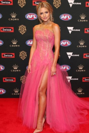 Jessie Murphy Pink Strapless Thigh-high Slit Evening Dress 2018 Brownlow Medal
