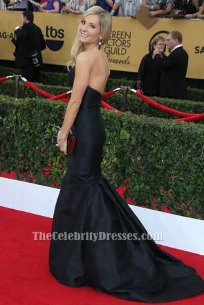 Joanne Froggatt Robe de soirée sirène noire sans bretelles Robe de soirée rouge SAG Awards 2015