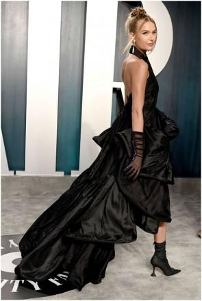 Josephine Skriver Black Halter Cut Out Formal Dress 2020 Vanity Fair Oscar Party