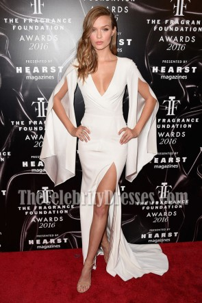 Josephine Skriver Figure-hugging White Backless Slit Prom Gown 2016 Fragrance Foundation Awards 3