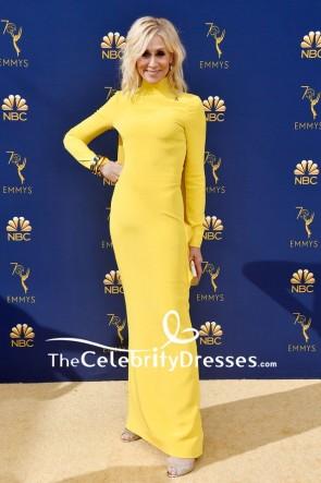 Judith Light Yellow High Neckline Evening Dress With Sleeves 2018 Emmys