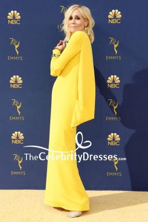 Judith Light Yellow High Neckline Evening Dress With Sleeves 2018 Emmys TCD8064