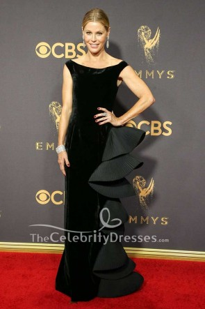 Julie Bowen Black Velvet Ruffled Evening Dress 2017 Emmy Awards Red Carpet Gown