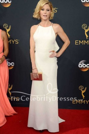 Julie Bowen White Ruffled Long Evening Formal Dress 2016 Emmy Awards Red Carpet Gown
