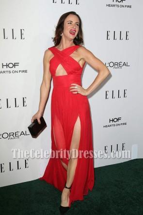 Juliette Lewis Red Chiffon High Slit Evening Dress 23rd Annual Elle Women