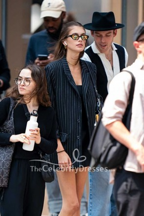 Kaia Gerber Oversized Black & White Striped Pockets Blazer