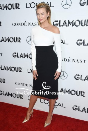Karlie Kloss Black And White One-shoulder Cocktail Dress 2018 Glamour Women of the Year Awards