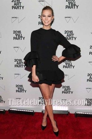 Karlie Kloss Sexy Petite Robe de Cocktail Noire à Manches Courtes Whitney Museum of American Art