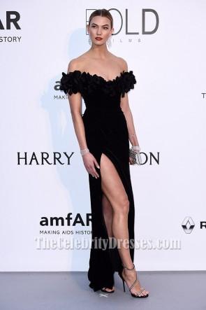 Karlie Kloss Noir Off-the-épaule formelle robe amfAR 2016 Robes de Célébrités