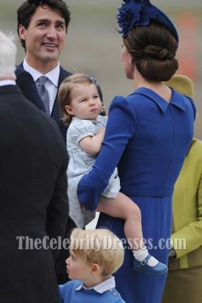 Kate Middleton - Robe moulante à manches courtes et à manches longues bleues Royal Canadian Tour