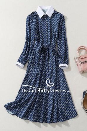 Kate Middleton Blue Floral Shirt Dress Visiting Queen Elizabeth Hospital