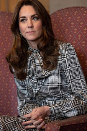 Kate Middleton Fashion Houndstooth Midi Dress