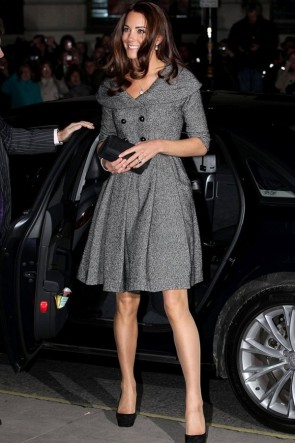 Kate Middleton Gray Lapel Short Coat Dress