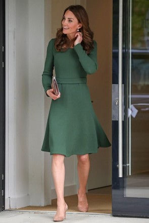 Kate Middleton Green Cocktail Day Dress With Long Sleeves