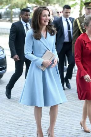 Kate Middleton Light Blue Coat Visiting Luxembourg