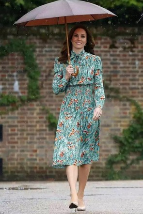 Kate Middleton Print Casual Summer Dress With Sleeves