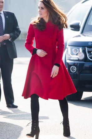 Kate Middleton Red High-end Winter Wool Coat with Double buttons.