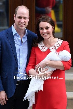 Kate Middleton Baby Red Short Lace Dress With Sleeves