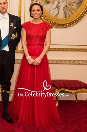 Kate Middleton Sparkly Cap Sleeves Red Ball Gown New Royal Portrait