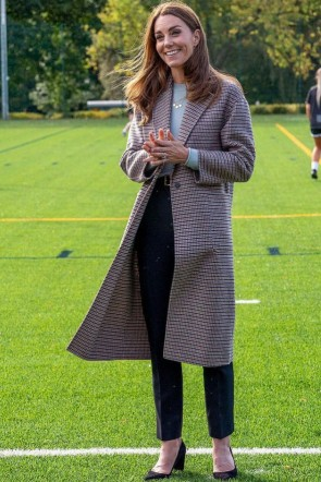 Kate Middleton Woolen Coat Visiting Derby University 2020